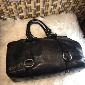Black Gathered Leather Mui Mui Shoulder Bag.